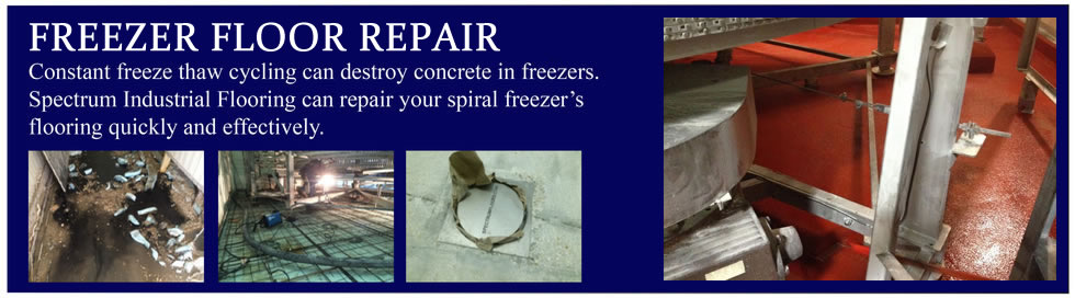 Freezer concrete floor repair for spiral freezers